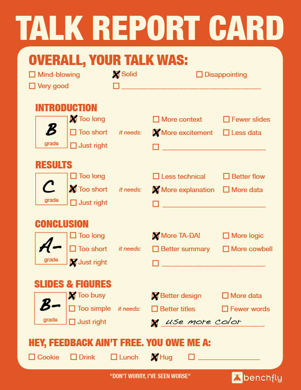 Scientific Talk Report Card